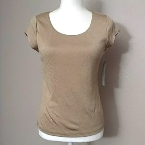 NWT Anne Klein Gold Sparkle Lined Top - PS